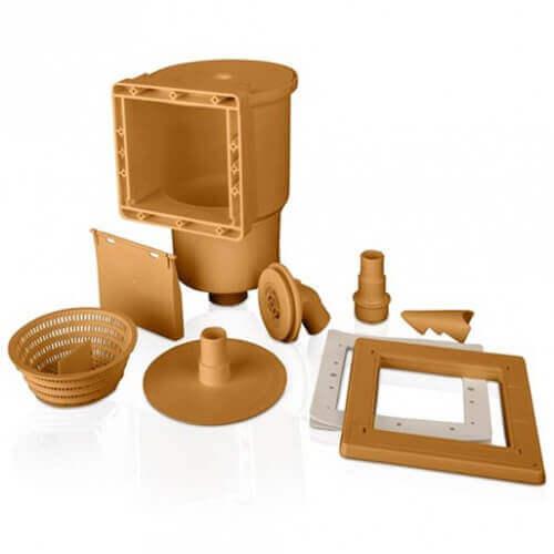 Skimmer + buse de refoulement 14,6 cm x 14,1 cm couleur marron