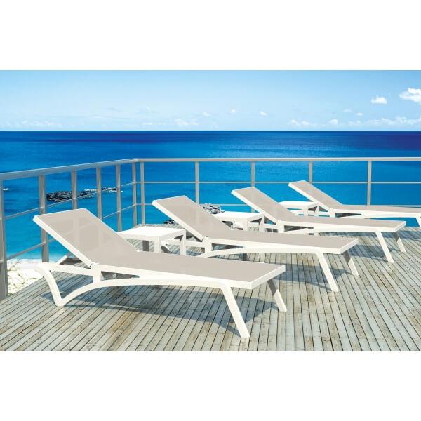 Transat costa coloris blanc gris mypiscine for Transat bain de soleil blanc