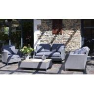 Salon de jardin Tex Riade 4 places en textilène - Gris galet