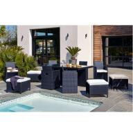 Table de jardin encastrable 10 places en résine tressée et verre - Noire