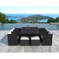 Table et chaises de jardin 10 places en résine tressée Noire