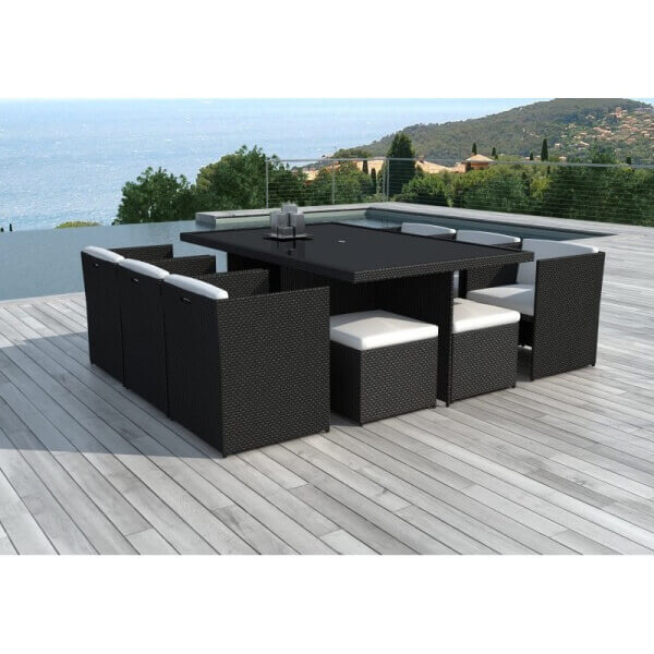 Table et chaises de jardin cancun 10 places mypiscine for Salon de jardin resine tressee marron