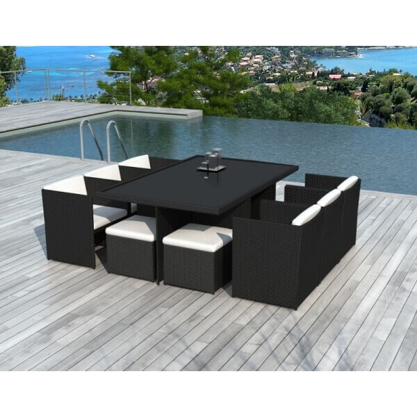 Table et chaises de jardin cancun 10 places mypiscine - Table et chaise en resine tressee ...