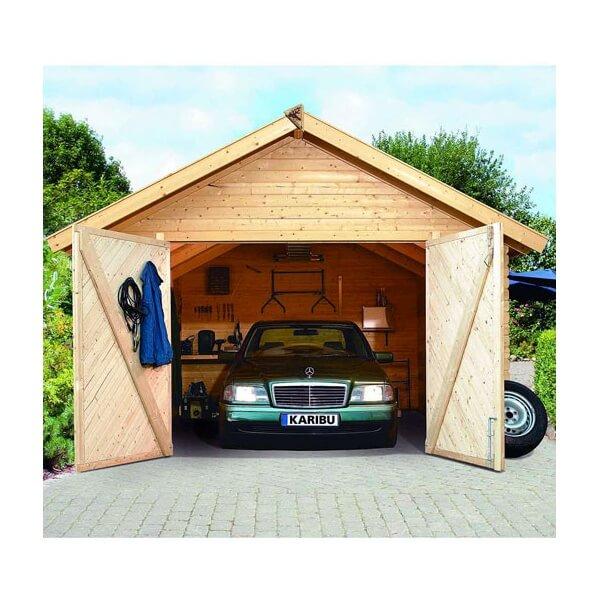 Garage en bois 40 mm mypiscine for Largeur garage double