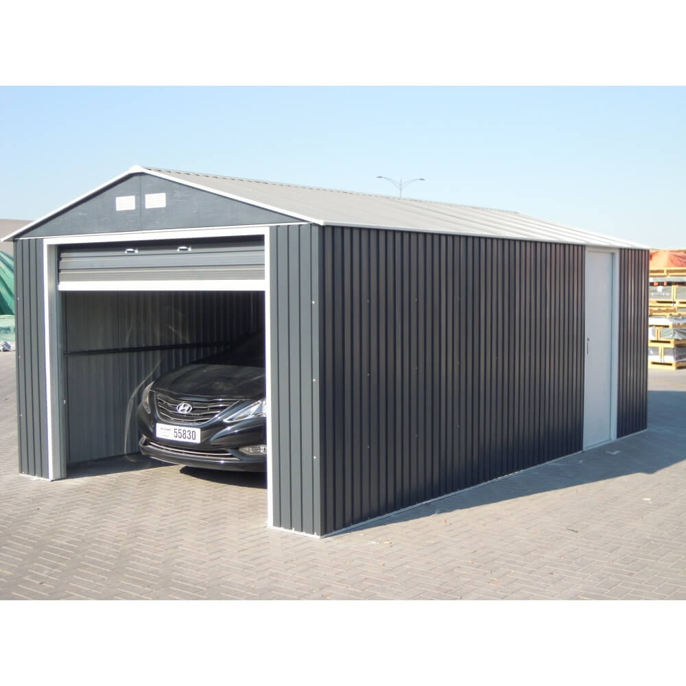 Garage en m tal anthracite duramax mypiscine for Garage a acheter