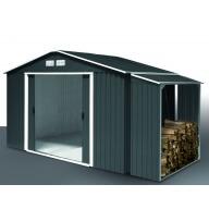 Abri de jardin métal Duramax Colossus 7.75 m² + Abri bûches métal Woodstore