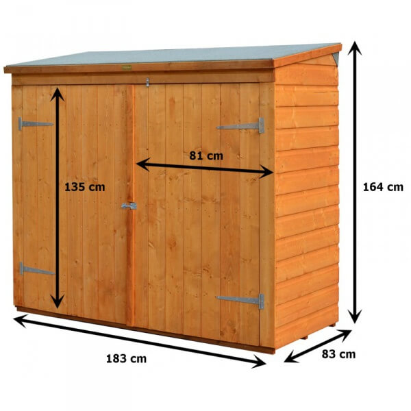 Abri v lo coffre de rangement en bois rowlinson for Local technique piscine surface de plancher