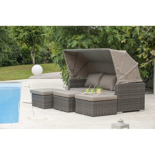 Salon de jardin cal che 6 places avec auvent taupe for Salon de jardin 6 places