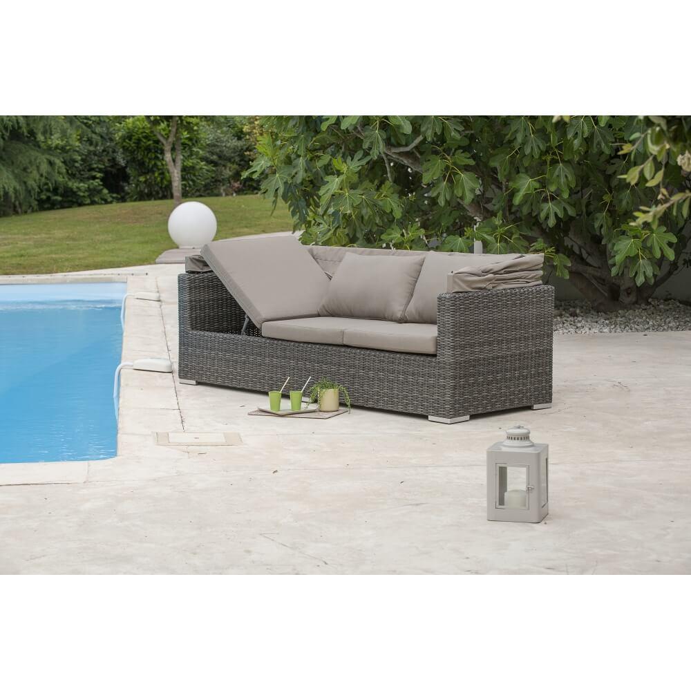 salon de jardin cal che 6 places avec auvent taupe mypiscine. Black Bedroom Furniture Sets. Home Design Ideas