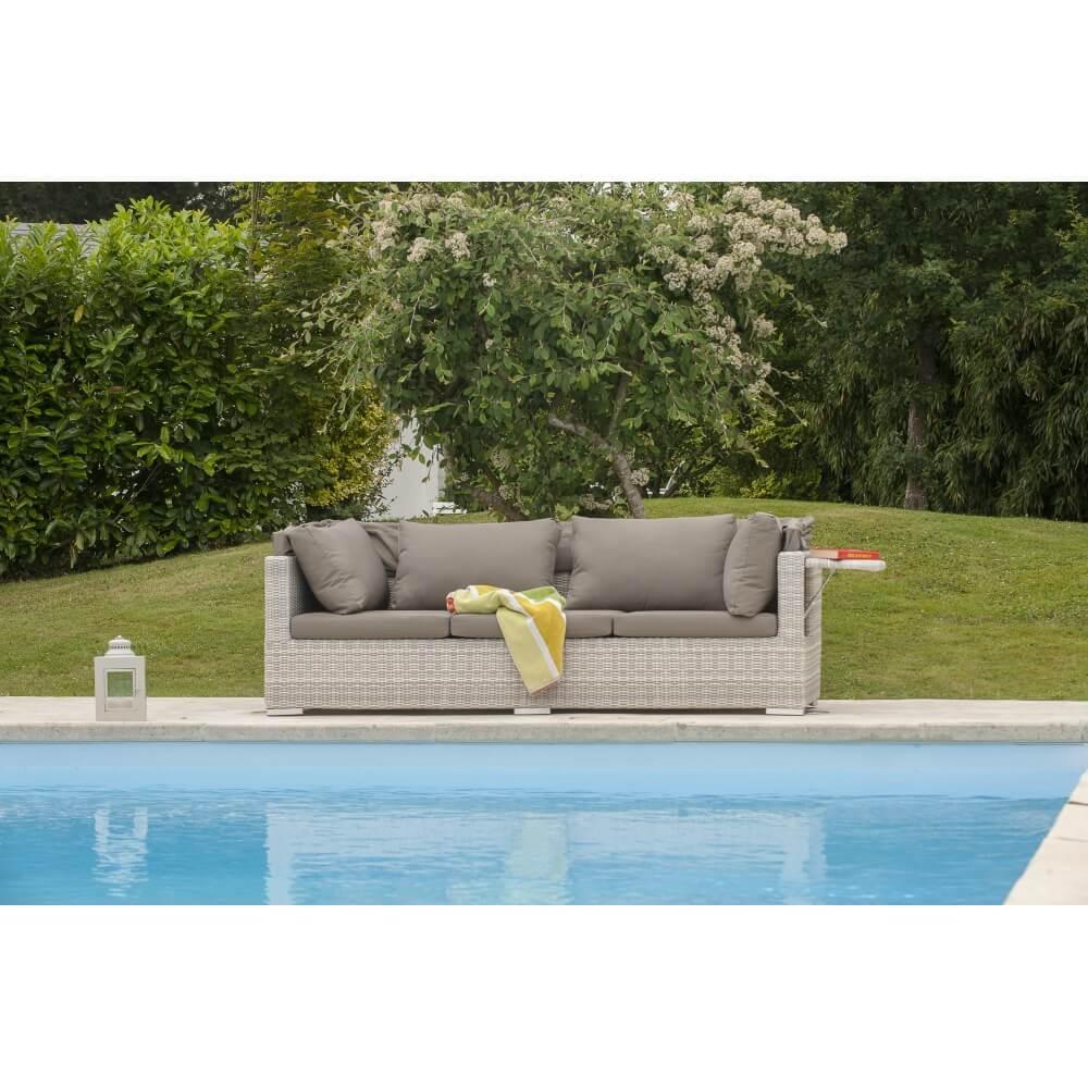 canap de jardin seychelles 3 places avec auvent cr me. Black Bedroom Furniture Sets. Home Design Ideas