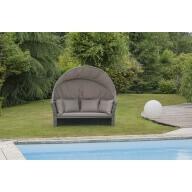 Canapé de jardin PalmBeach 2 places avec auvent - Gris
