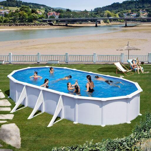 Piscine hors sol gre atlantis ovale 730 x 375 h132 mypiscine for Sable piscine