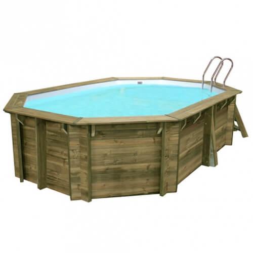 piscine bois blooma lokka 5 51 x 3 51 m liner bleu