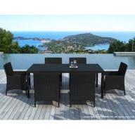 Table et chaises de jardin Escadido 6 places en résine tressée Noire