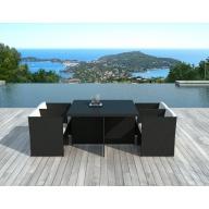 Table et chaises de jardin Lima 4 places en résine tressée noire