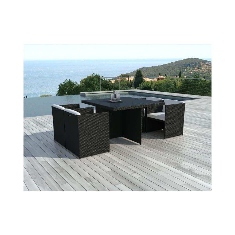 table et chaises de jardin en r sine tress e lima 4 places mypiscine. Black Bedroom Furniture Sets. Home Design Ideas