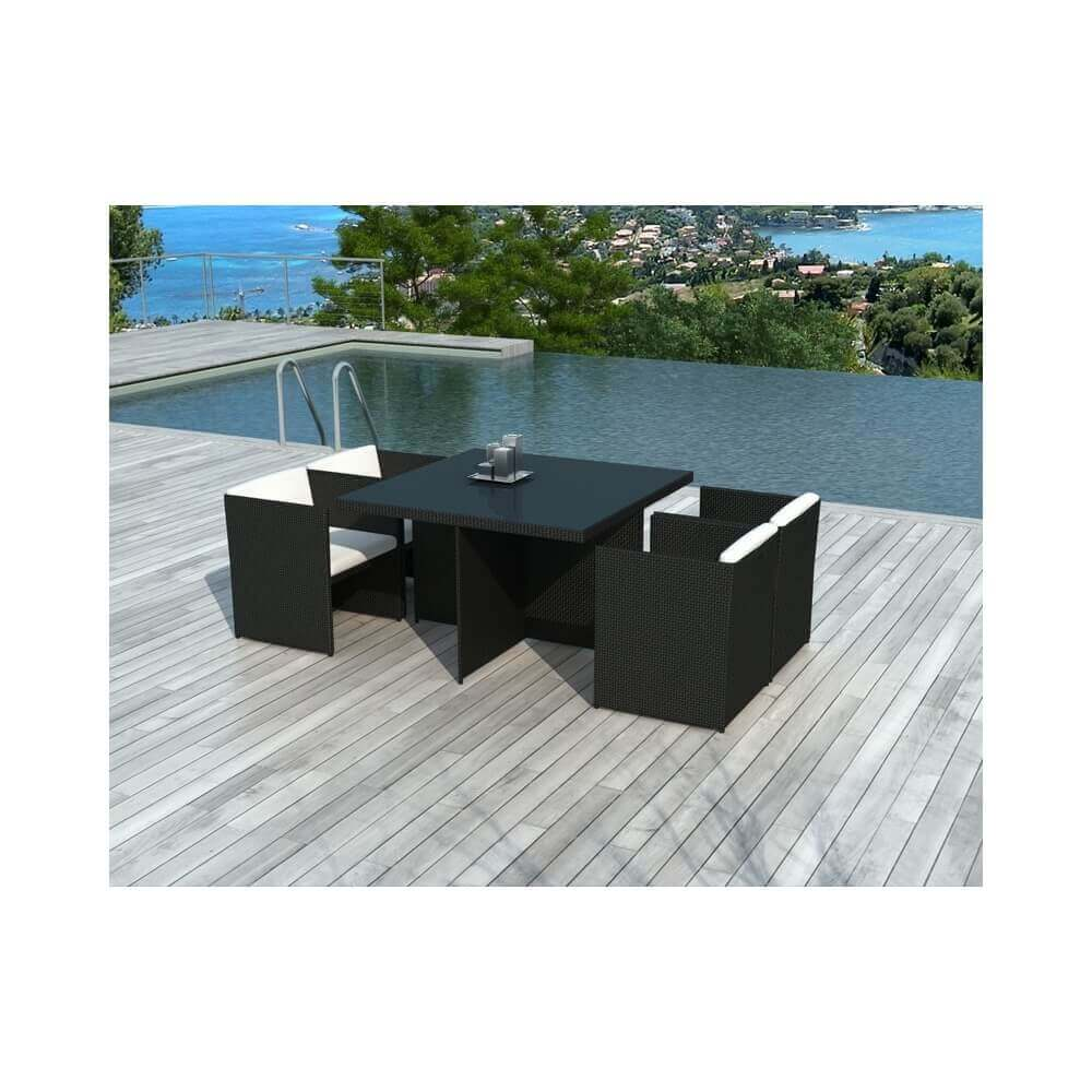 table et chaises de jardin en r sine tress e lima 4 places mypiscine. Black Bedroom Furniture Sets. Home Design Ideas