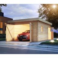 Garage en bois 40mm Karibu avec toit plat