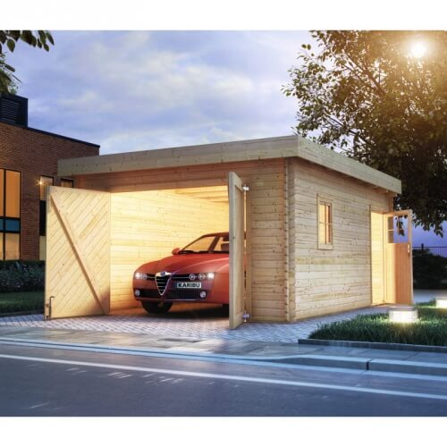 Garage en bois 40 mm toit plat mypiscine for Toit garage plat