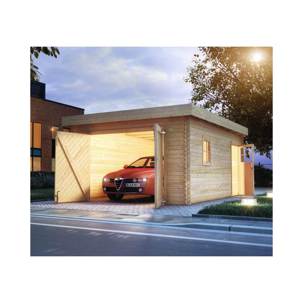 Garage en bois 40 mm toit plat mypiscine for Garage en bois a toit plat