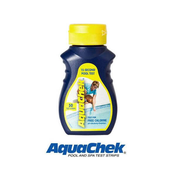 50 bandelettes d 39 analyse aquachek jaune chlore et ph for Chlore et piscine