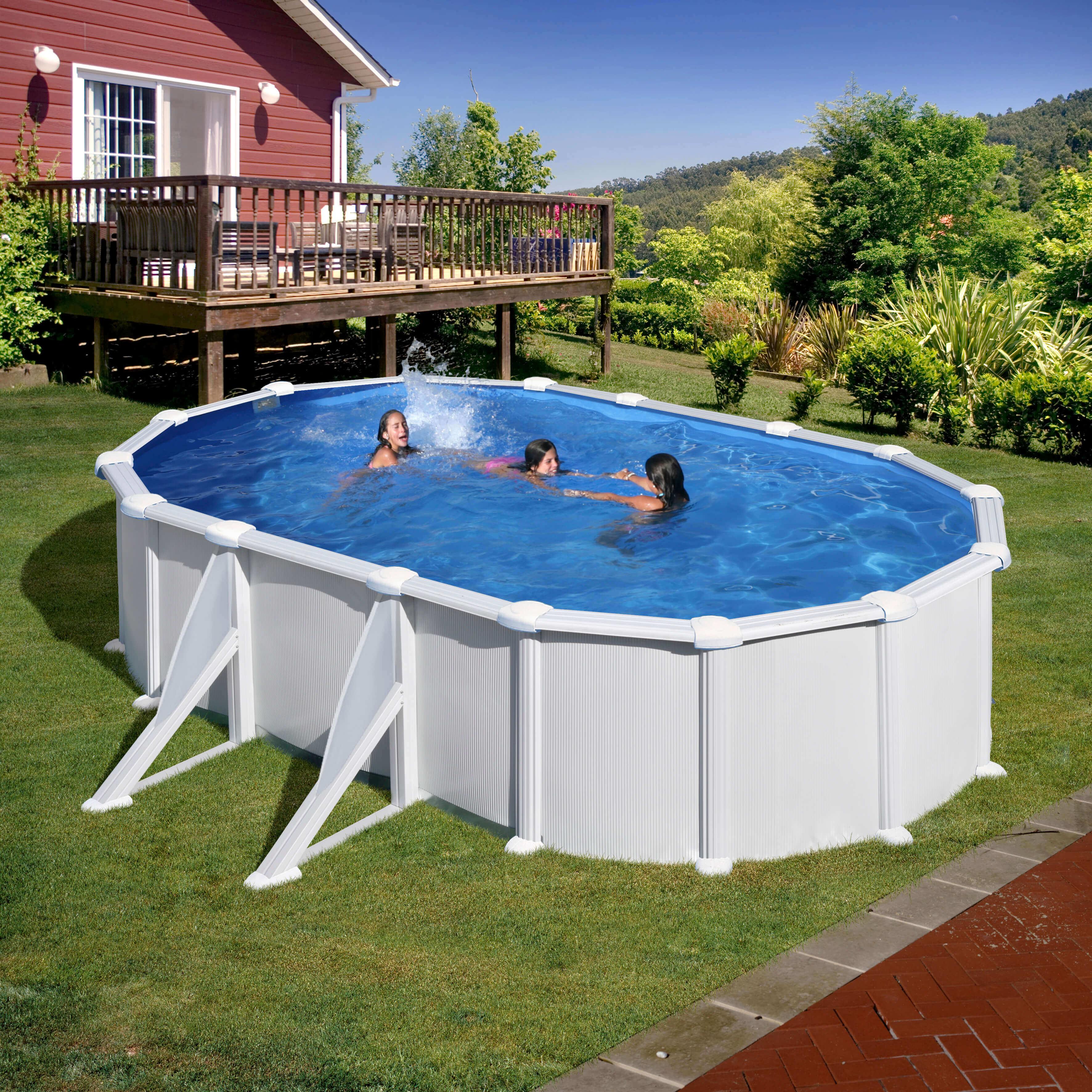 Comment Monter Une Piscine Hors Sol piscine hors-sol atlantis ovale 525 x 325 h 132 cm - filtre à sable