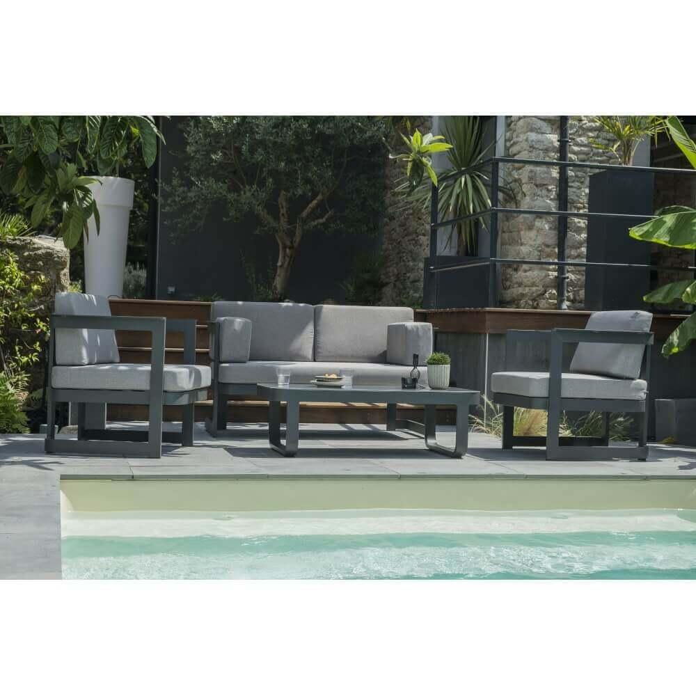 salon de jardin 4 places barcelona noir mypiscine. Black Bedroom Furniture Sets. Home Design Ideas