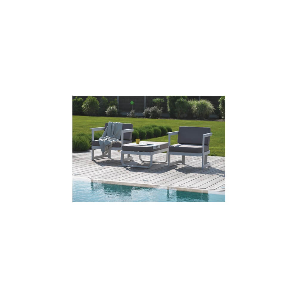 salon de jardin 2 places barcelona blanc mypiscine. Black Bedroom Furniture Sets. Home Design Ideas