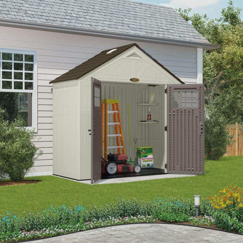 abri de jardin poly thyl ne suncast woodgrain 3 45m. Black Bedroom Furniture Sets. Home Design Ideas