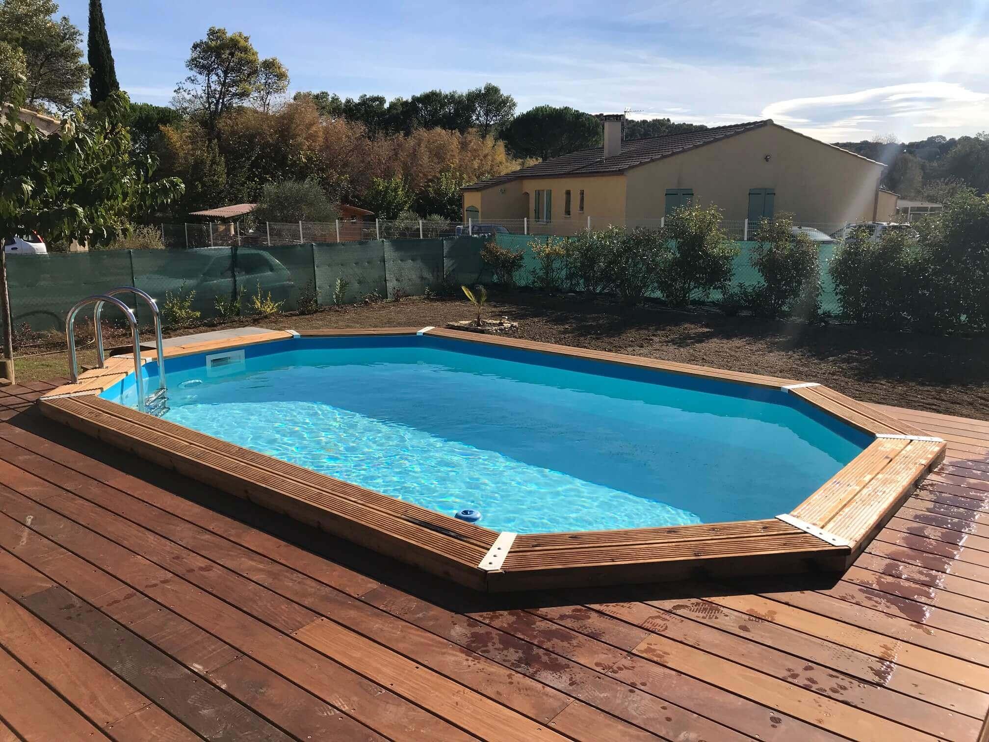 Piscine En Palette De Bois piscine bois azura 355 x 550 x h 120 cm