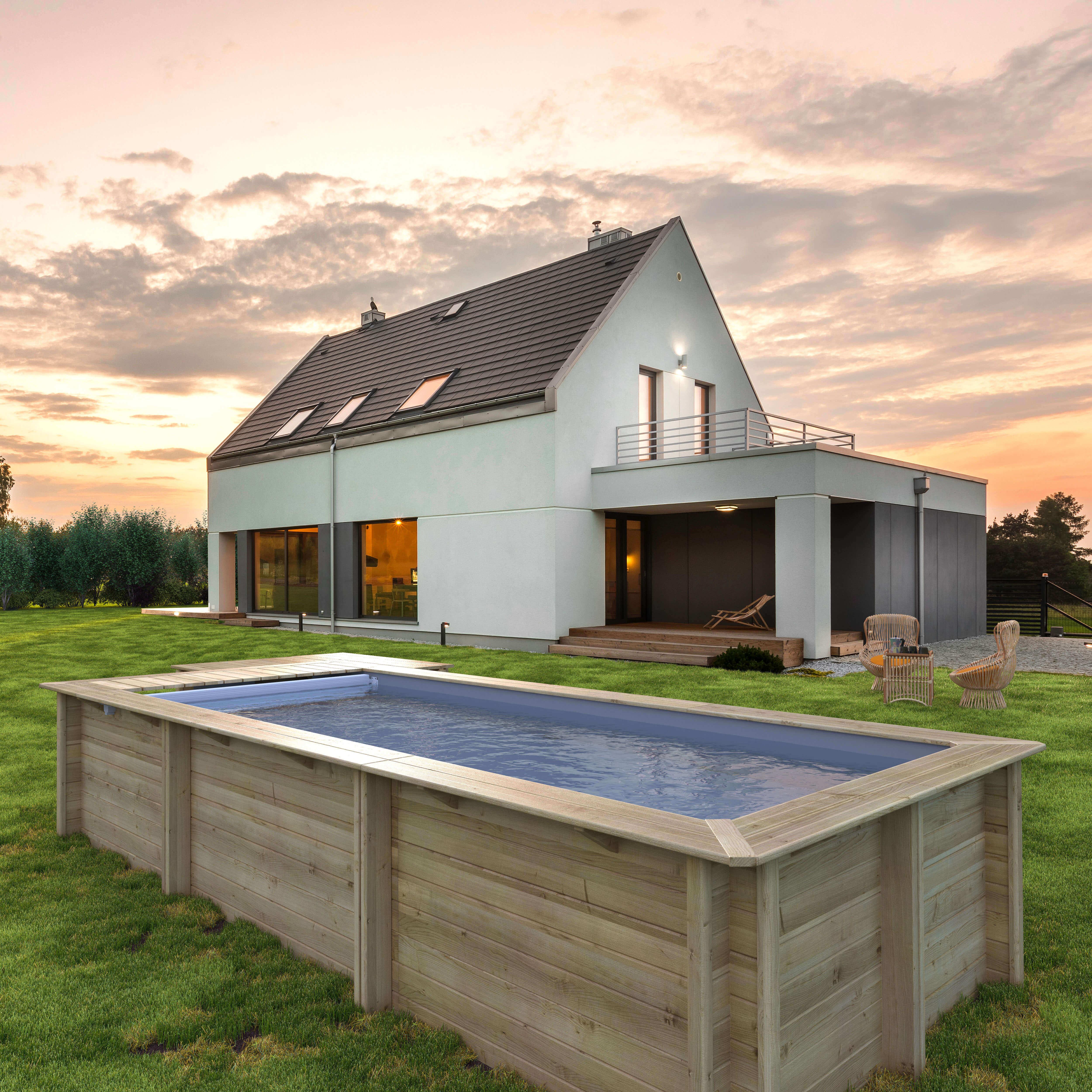 Piscine En Bois Petite Taille piscine bois urbaine 600 x 250 x h 133 - couverture automatique