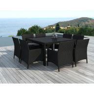 Table et chaises de jardin Dax 8 places en résine tressée noire