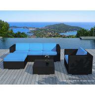 Salon de jardin en résine tressée noir et bleu - 5 places