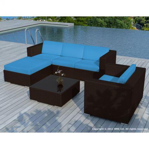 Salon de jardin en résine tressée chocolat et bleu 5 places - MyPiscine