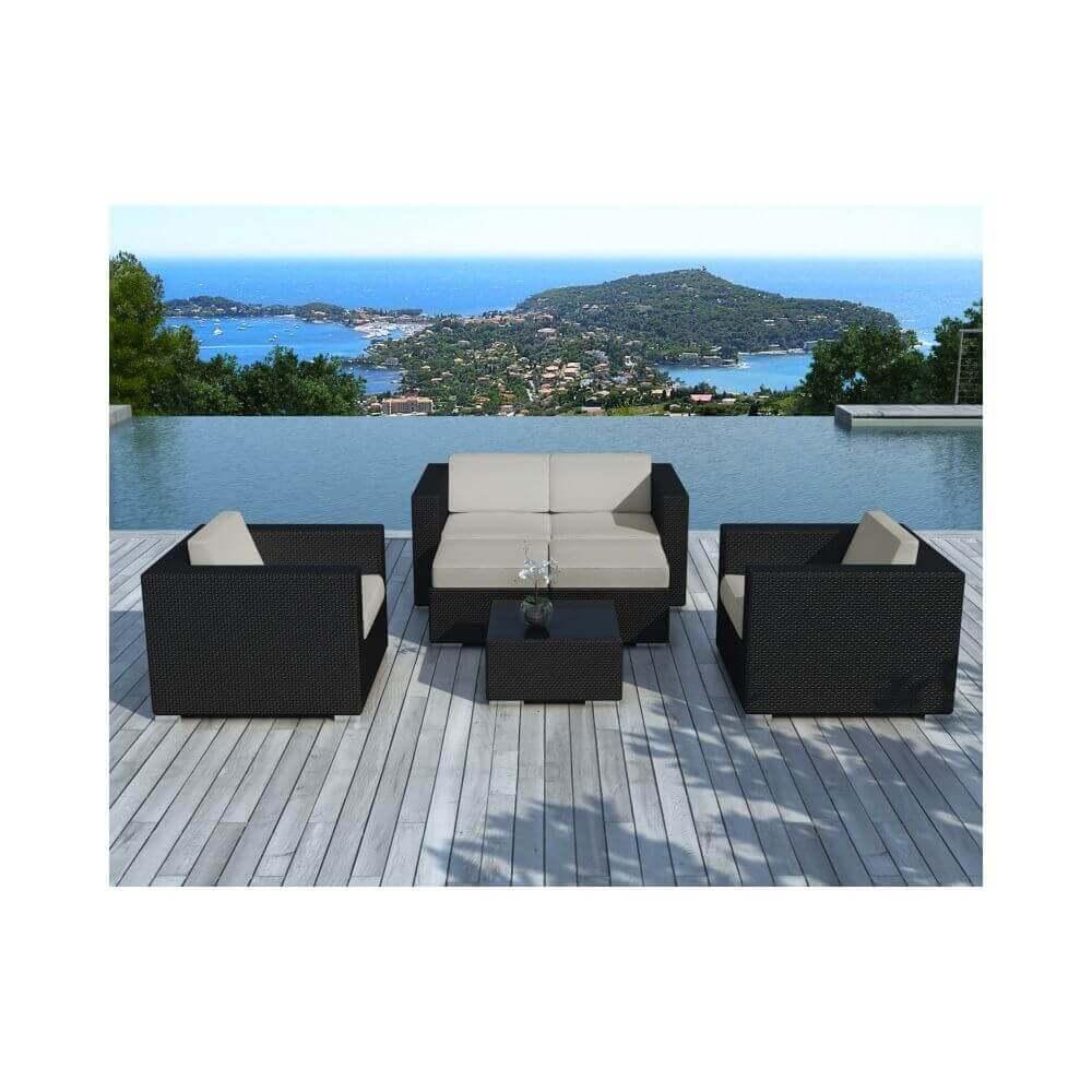 Salon de jardin d\'angle en résine tressée - noir et gris clair- 6 places -  PAUSA