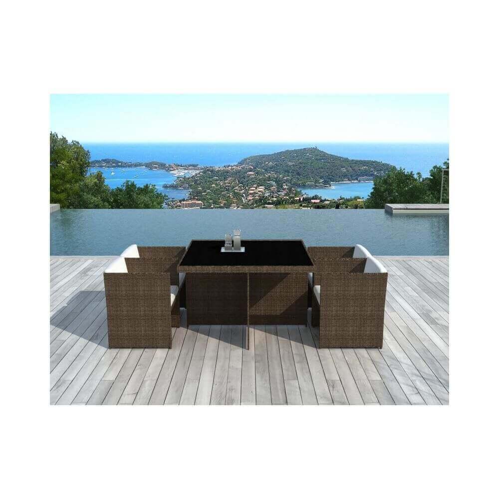Table et chaises de jardin en résine tressée chocolat et ...
