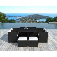 Table et chaises de jardin  8 places en résine tressée noir et blanc