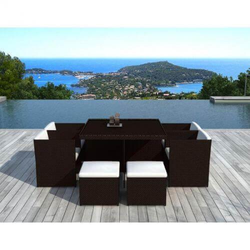 Table et chaises de jardin 8 places en résine tressée chocolat et blanc