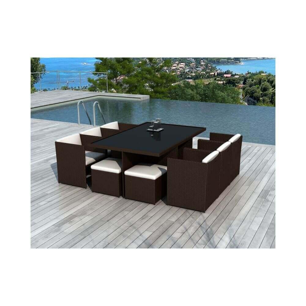 Table et chaises de jardin en résine tressée chocolat et blanc 10 ...