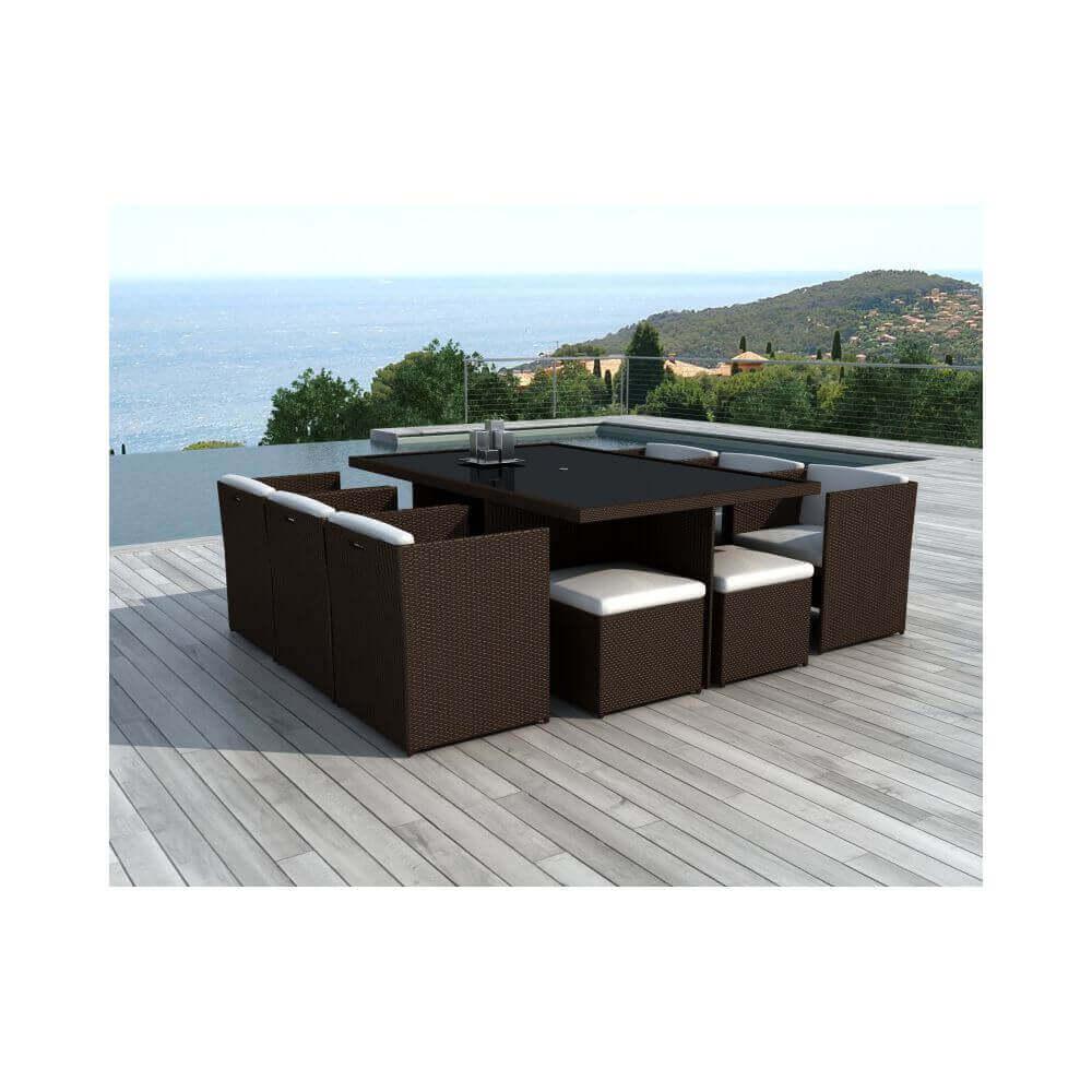 table et chaises de jardin en r sine tress e chocolat et. Black Bedroom Furniture Sets. Home Design Ideas