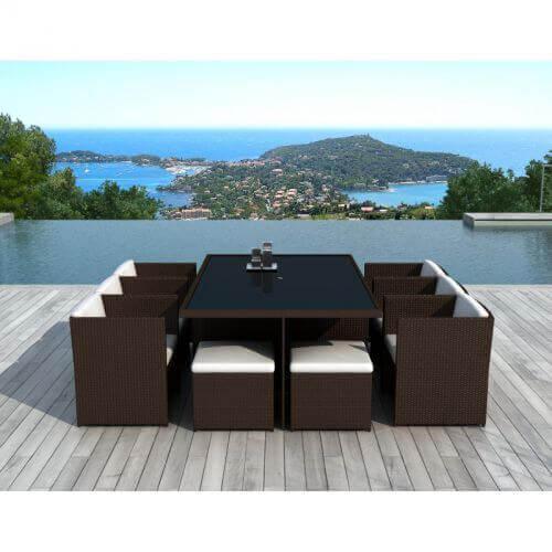 Table et chaises de jardin 10 places en résine tressée chocolat et blanc