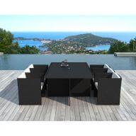 Table et chaises de jardin 6 places en résine tressée noir et blanc