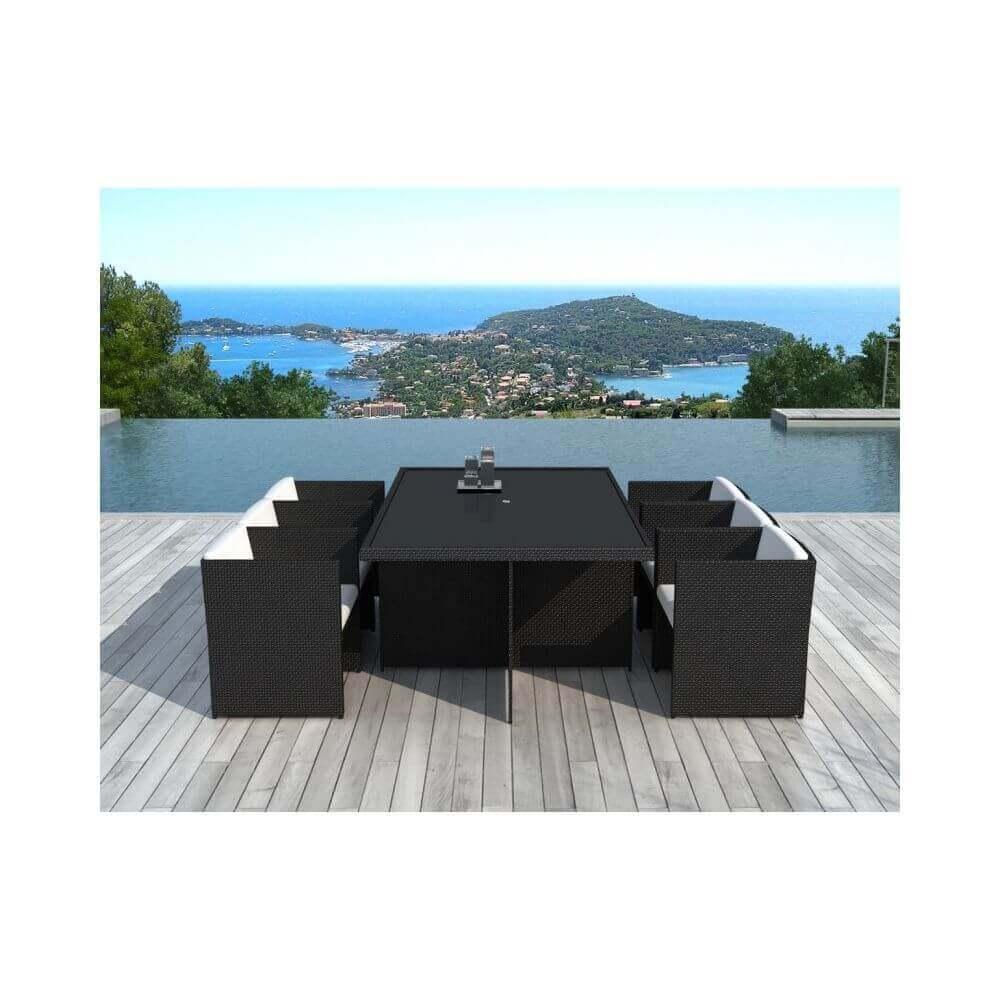 Table et chaises de jardin en résine tressée noir et blanc 6 places ...