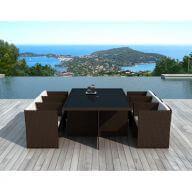Table et chaises de jardin  6 places en résine tressée chocolat et blanc