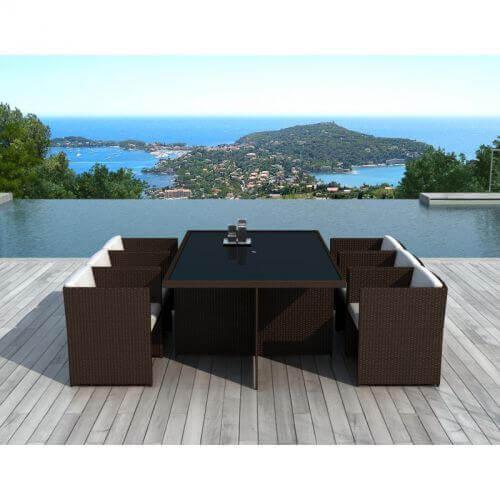 Table et chaises de jardin 6 places en résine tressée chocolat et blanc -  SUMATRA