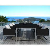Table et chaises de jardin 6 places en résine tressée noir et blanc avec coussins
