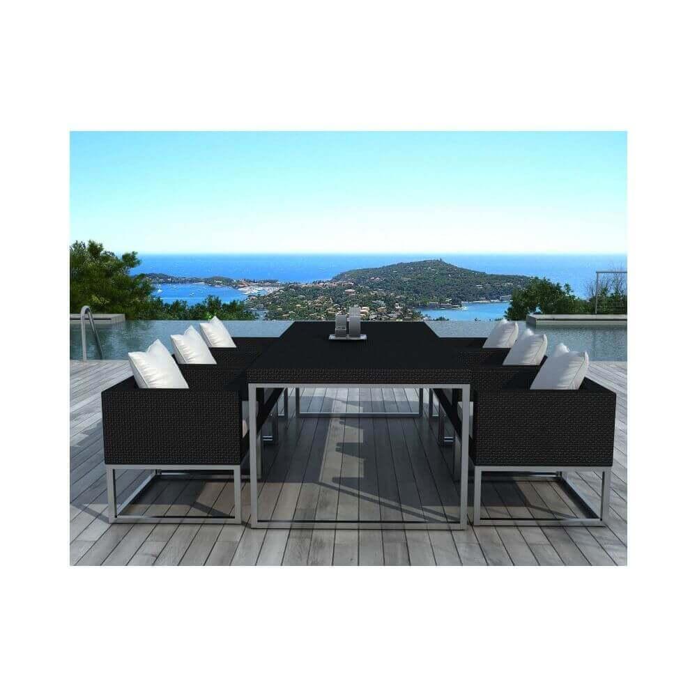 table et chaises de jardin en r sine tress e noir et blanc. Black Bedroom Furniture Sets. Home Design Ideas