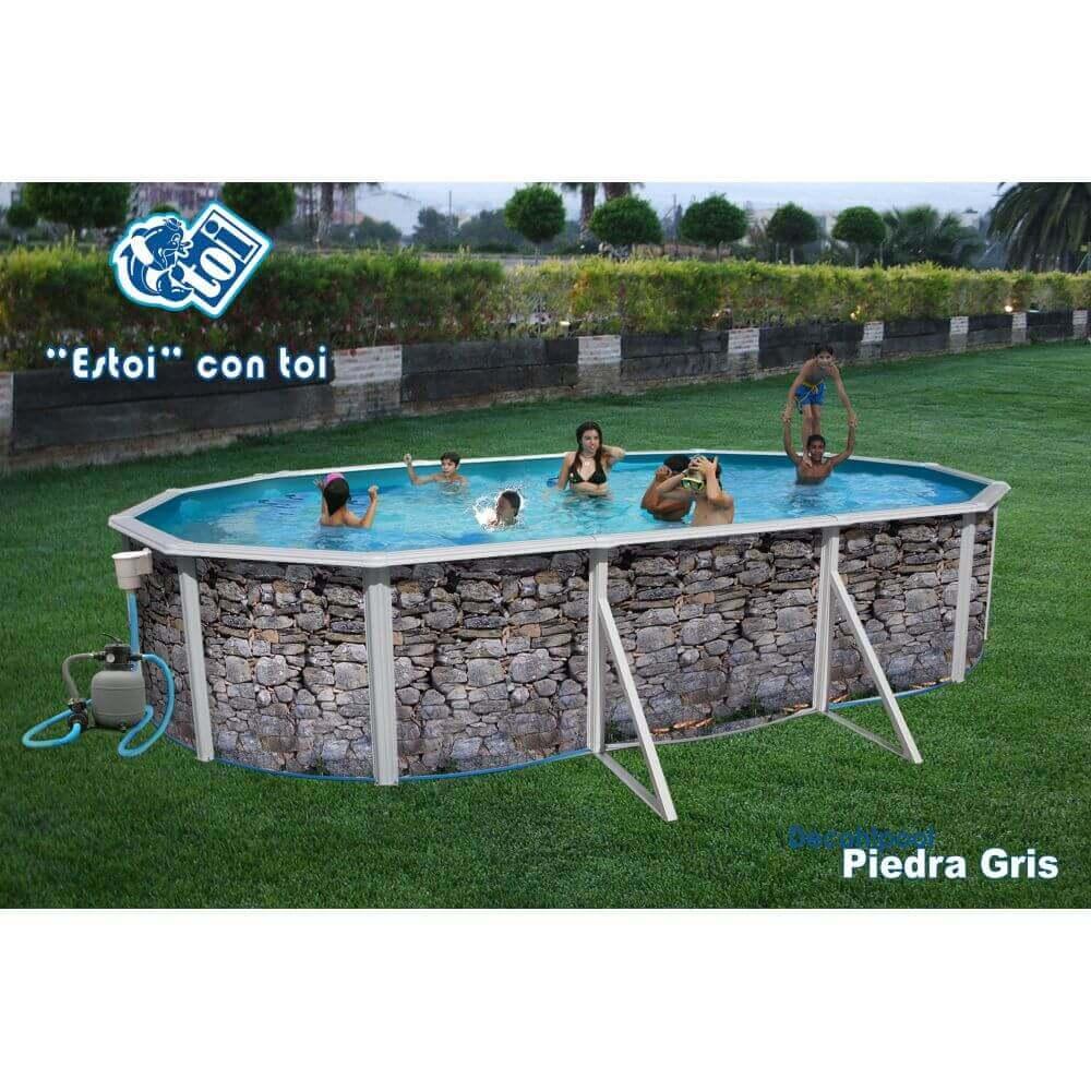 Piscine En Pierre Hors Sol piscine hors-sol pierre grise 550 x 366 x h120 cm - filtre à sable