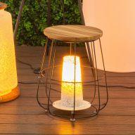 Lampe table DEWI bois/acier - 36,5 x 36,5 x 44,5 cm