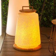 Lampe NUMA fibre de verre/teck - 38 x 38 x 55 cm